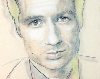 Original hand drawn portrait of David Duchovny, in charcoal and pastel on calico