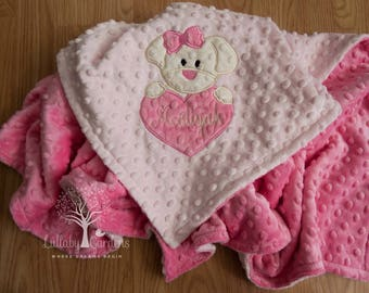 Puppy Personalized Minky Baby Blanket, Personalized Minky Baby Blanket, Personalized Baby Gift, Appliqued Minky Baby Blanket