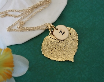 Bridesmaid Necklace Leaf Personalized, Bridesmaid Gift, Real Leaf Necklace,Initial Gold Filled Charm