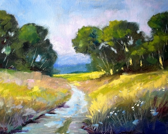 Landscape Oil Painting, Country Road Scene, Trees, Flowers, Prairie, Road, Spring, Field, 9x12 on Stretched Canvas, Original Oregon Meadow