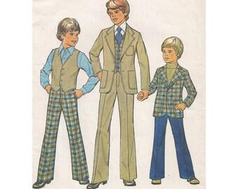 Boys Vintage 70s Suit Pattern Blazer Flared Pants Vest Simplicity 7733 Size 12 Chest 30 Retro Plaid Suit Wide Lapel Retro Wedding Ring Boy