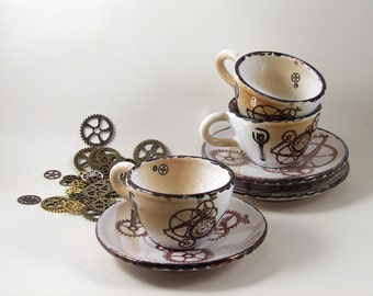 bitcoin tea cup and plate cappuccino steampunk