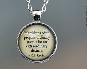 CS Lewis (Destiny) Quote jewelry. Pendant, Necklace or Keychain Key Ring. Perfect Gift Present. Glass dome phrase words charm HomeStudio