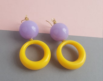 Lilac and yellow lucite big earrings