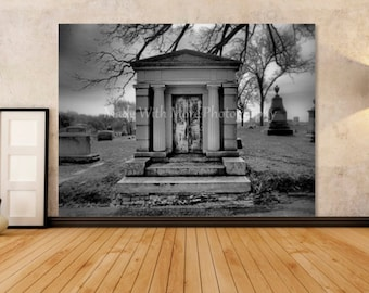 Historic Mausoleum Print Black and White Cemetery Fine Art Photography Print