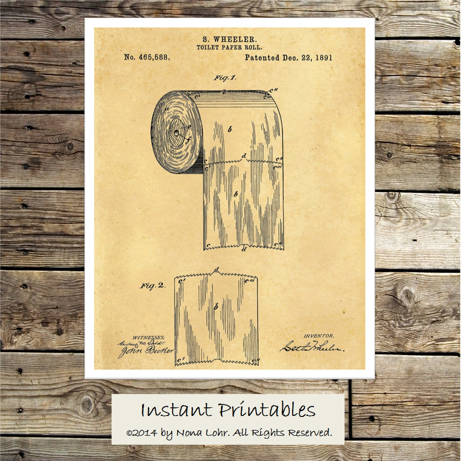 Vintage Toilet Paper Patent Print Old Wall Decor Digital Wall