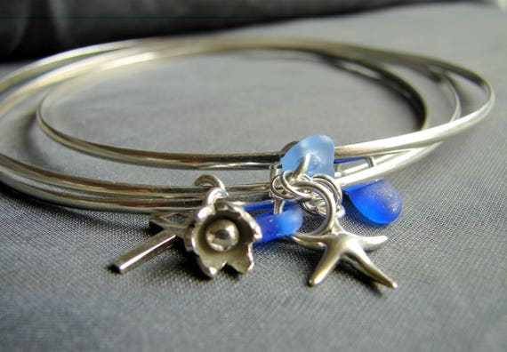 Sea Glass Bangles in oean blues