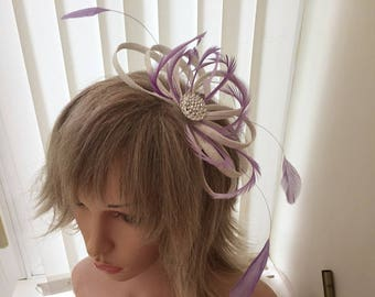 White and lilac  sinamay fascinator, hair accessories, can be custom made to match your outfit