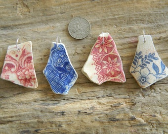 4 Vintage beach found pottery shards drilled ready for jewellery making, 10 mm jump rings
