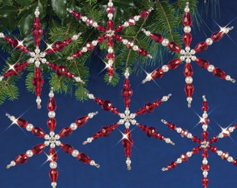 Ruby Snowflakes Beaded Christmas Ornament Kit (NC002)