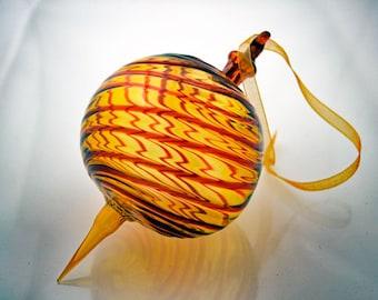 Handblown Glass Ornament, Large Glass Ornament, Gold and Red Striped Ornament, Gold Glass Suncatcher, Unique Ornament,