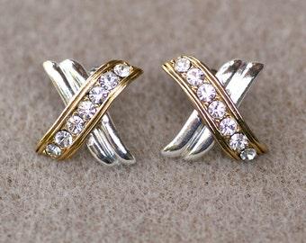 Rhinestone Kisses Avon Earrings Two Tone Vintage