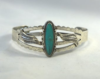 Vintage Sterling Silver Turquoise Southwest Native American Inspired Bell Trading Post Cuff Bracelet Medium/Average Size