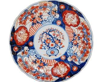 Antique Japanese Imari Scalloped Porcelain Charger
