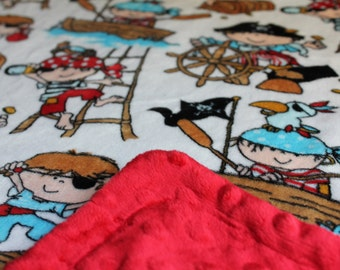 Minky Blanket Pirate Print Minky with Red Dimple Dot Minky Backing - Perfect Size a Toddler or Child