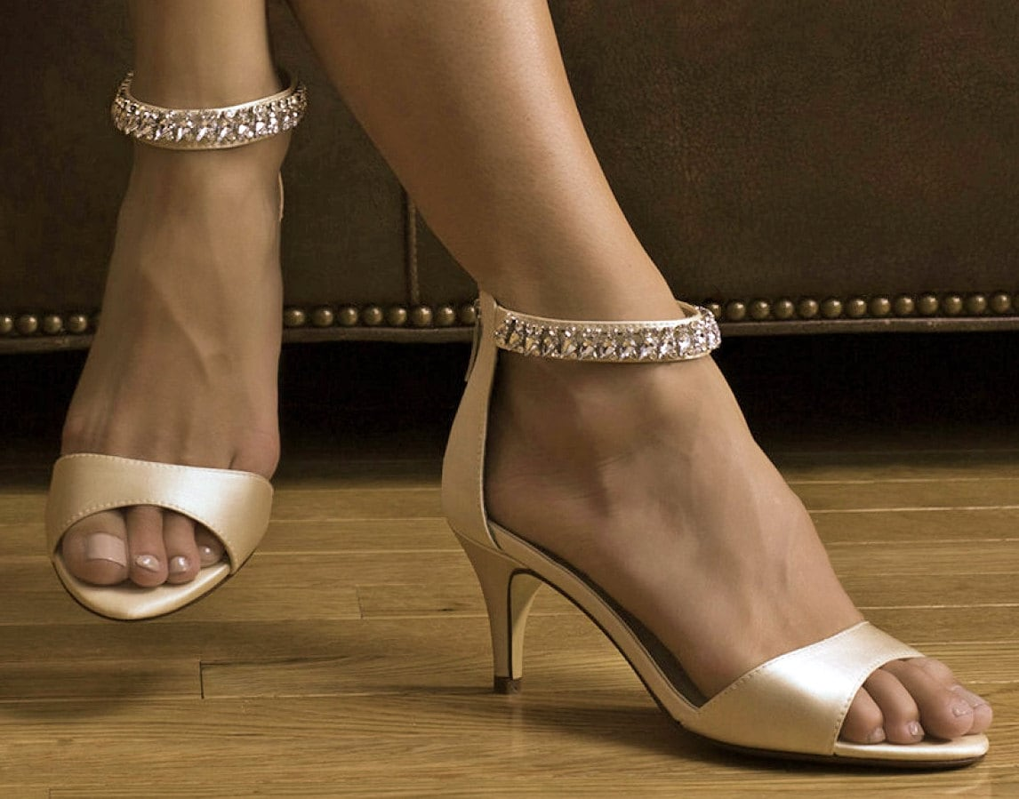 Wedding Shoe Crystal Strap Shoe Bridal Shoes 2.25 Inch