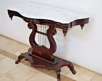 vintage sofa table. Gorgeous Vintage Mahogany Marble Top Table Console Hall Sofa Lyre Harp Base Nationwide Shipping Available Please