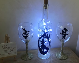 Alice and Wonderland light up bottle and glasses set