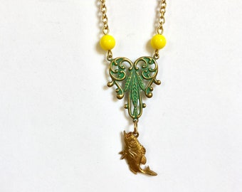 Goldfish and green filigree necklace