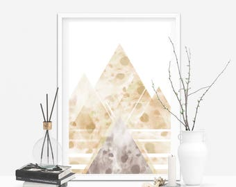 Printable Abstract Landscape Poster, Printable Wall Art, Home Decor, Minimalist, Modern, Geometric Large Print, Watercolour, Gold