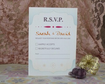Summer Sunset Wedding RSVP Reply card
