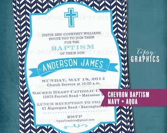 Modern Chevron Baptism Announcement or Invite by Tipsy Graphics.  Baptism Dedication Christening First Communion