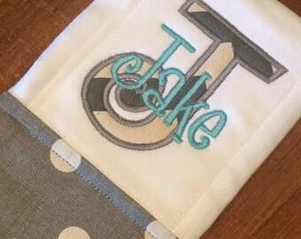 Gray Polka Dot Burp Cloth  - Personalized Burp Cloth Gift - Monogrammed Burp Cloth - Baby Shower Gift