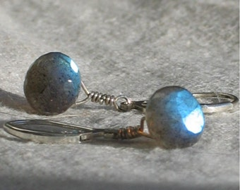 Graceful Labradorite Earrings, Wire-wrapped Gemstone Dangles, Sterling Silver Leverback Earrings, Ready to Mail, Gift for Her