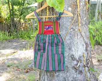 Handloomed Authenic Guatemalan Children's Dress with Huipil detail, adjustable straps and pockets