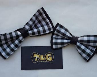 Black and White Plaid Adjustable Men's Bow Tie