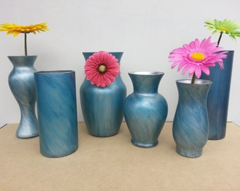 Set Of Six Custom Made Dye Painted Glass Vases / Or Sold Individually