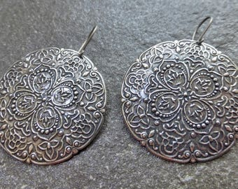 Large Round Antiqued Sterling Silver Plated Embossed Floral Tribal Earrings - Hypoallergenic Titanium Niobium OR Sterling Silver Ear Wires