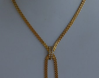 "Rhinestone, Gold tone Lariat Chain Necklace, Vintage, 15"" (J5)"
