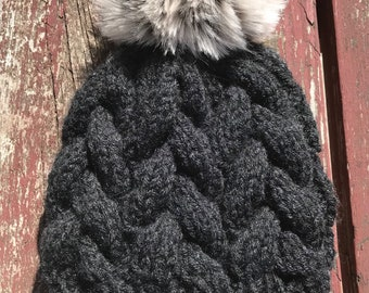 Dark Gray Cable knit beanie