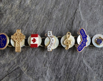 Merit Service Pin Bracelet, Good Energy life's good works vintage, antique service pins, recycled, repurposed jewelry lapel pins up cycled