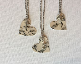 Music Heart Necklace with Musical Note Charm, Pendant from Recycled Sheet Music, Musician Gift, Piano Teacher Gift, Choir Gift, Singer Gift