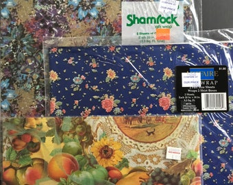 Vintage gift wrapping paper, assortment, 3 packs