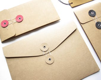 String & Button Kraft Envelopes。Brown Kraft Envelope。Kraft Paper Pocket。Portfolio Folder。String and Tie Pocket Folder