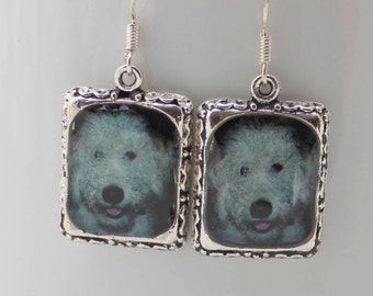 Lab-a-doodle Dog Earrings 3D Dimensional Pet Silver Jewelry White Picture Puppy labadoodle