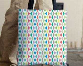 Geometric Tote Bag, Polyester Tote, Multicolor Bag, Designer Tote, Pattern Tote, Tote with Pockets, Colorful Bag