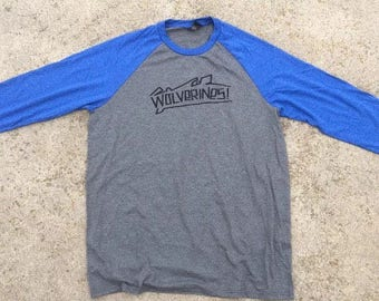 Red Dawn Wolverines 3/4 Sleeve Tri Blend T Shirt, Blue / Gray, Large