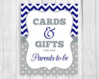 Cards and Gifts for the Parents-to-Be 5x7, 8x10 Printable Baby Shower Sign in Navy Blue Chevron and Gray Polka Dots - Instant Download