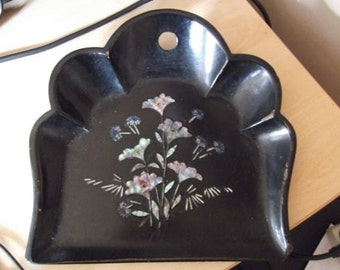 Victorian papier mache and mother-of-pearl dust tray