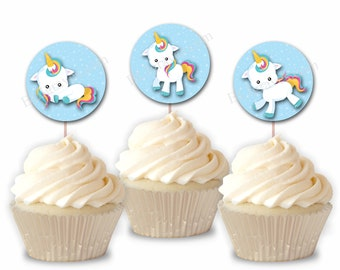 Unicorn Cupcake Toppers, Unicorn Birthday Party or Food Picks, Set of 12  CT012