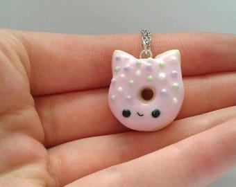 Polymer clay cat doughnut