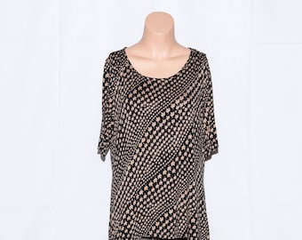 "Jahrgang Jersey Runde Hals oben, Frau oben, kurze Ärmel, schwarze Farbe oben, dünne Spitze, Frau Pullover, Damen Bluse, Größe 16UK/12 """
