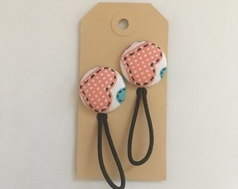 Heart fabric button hair elastic, hair bobble, stocking filler