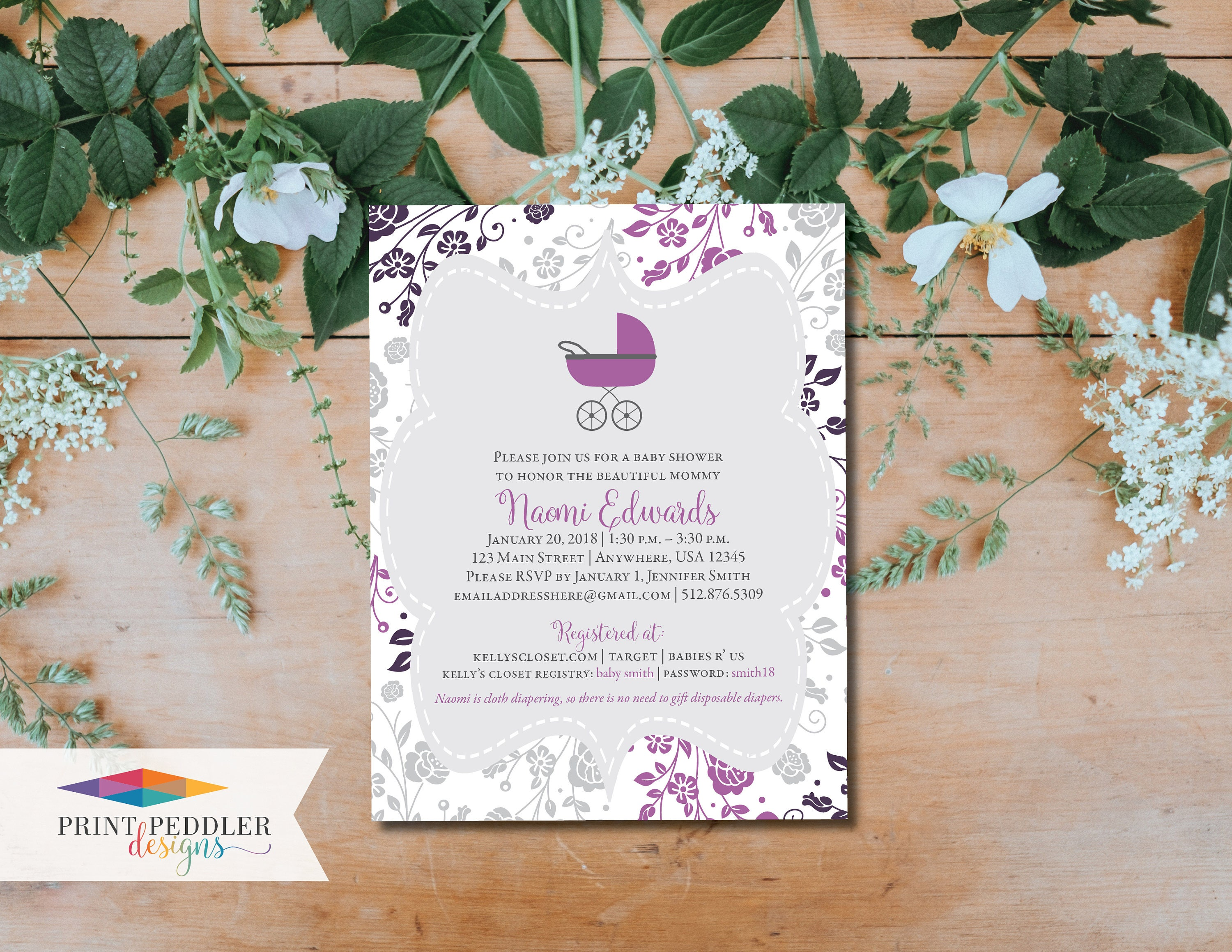 Pretty Lil\' Buggy Baby Shower Invitation Digital File