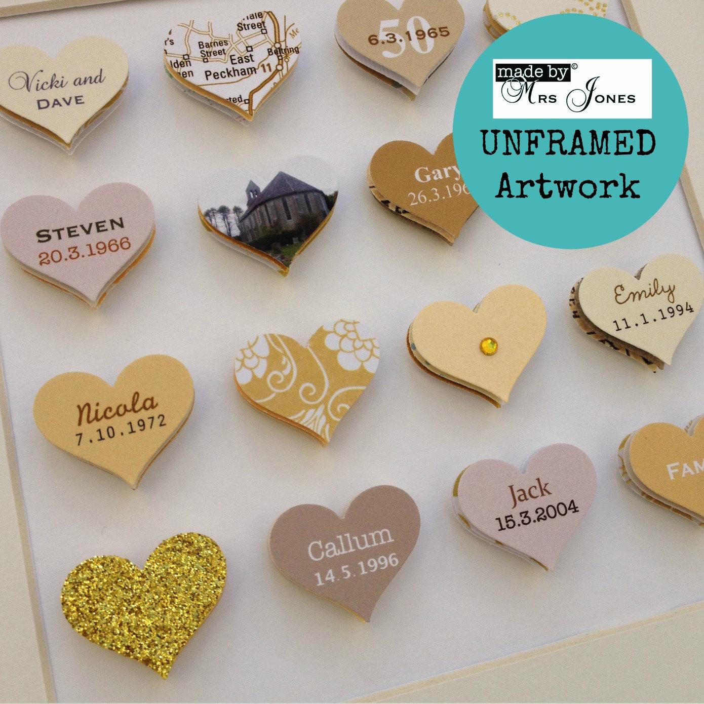 Golden Wedding Gift Ideas Uk: 50th Wedding Anniversary Gift 16 Small Hearts Golden