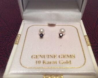 10 KARAT GOLD Genuine Gems Earrings